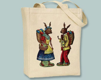Fun Vintage Easter Bunnies Canvas Tote - Selection of sizes available