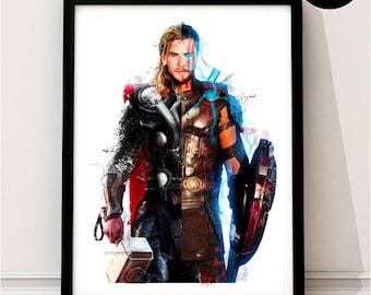 Thor Inspired Art Print, Ragnarok, the dark world, god of thunder, Avengers, prince of asgard, loki, hulk, Art Poster, gift