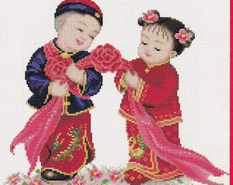 PINN Collection Cross Stitch Pattern. Chinese Blessing Dolls. 3 Patterns Included. 21003.