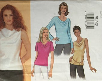 Butterick 3131, Size 12-14-16, Misses' Blouse Pattern, UNCUT, Semi Fitted, Pullover Top, 2001, High Fashion , Modern, Career Wear
