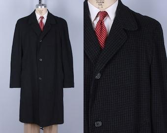 Vintage 1950s Mens Overcoat | 50s Black, Grey Gray & Brown Houndstooth Tweed Wool Coat Jacket | Large Extra Large XL