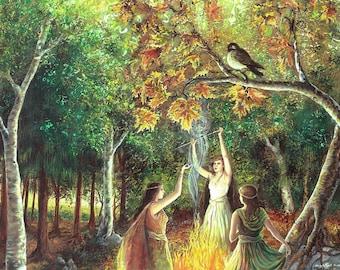 The Coven 11x14 Fine Art Print Pagan Mythology Samhain Witch Nature Goddess Art