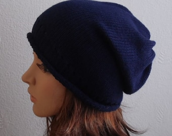 Womens Slouch Hat, Knit Slouchy Beanie, Knitted Womens Hats, Slouchy Hats, Navy Blue Beanie Hat, CHOOSE COLOUR