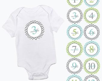 baby monthly stickers chevron pattern green aqua and grey girls or boy zig zag month baby growth milestone newborn baby shower photo prop