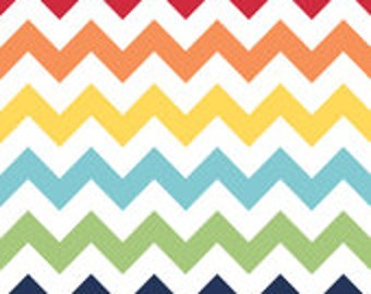 """ROLL END 40% off, 50"""" roll end, 40"""" wide, Laminated cotton fabric aka oilcloth Riley Blake Rainbow Chevron on white"""