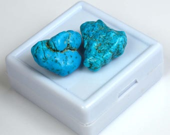 42.85 Ct High Quality Natural Arizona Mine Kingman Turquoise Gemstone Rough Pair