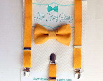 Boy Bow Tie Suspenders Set, Yellow Bowtie and Suspenders, Boys Easter Outfit, Boy Formal Wear, Baby Boy First Birthday, Boys Cake Smash