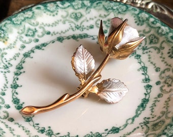 Rose Brooch Silver Gold Metal Pin Vintage Flower