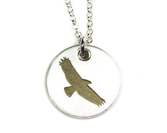 Golden Eagle Pendant Sterling Silver Necklace and Pendant, Bird Themed Gift for Her, Wildlife Lover Gift, Ready to Ship