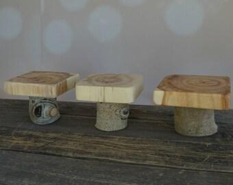 Adorable Rustic Pedestal Set~ 3 Stands ~ Rustic Modern Wedding, Centerpiece, Dessert Buffet, Pie Stands ~ Summer Wedding ~ Spring (CS 5015)