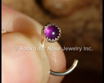 Amethyst Nose Stud in Sterling Silver Serrated Bezel -  CUSTOMIZE