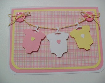 Handmade Baby Girl Card - Baby Onesies Clothesline Card - Pink/Yellow/White - BLANK Inside