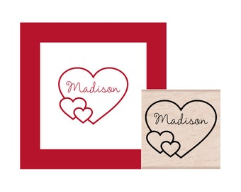 Hearts with personalization Rubber Stamp