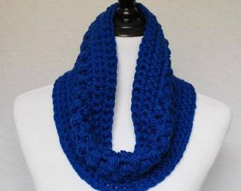 Blue Crochet Cowl, Short Infinity Scarf, Navy Blue Neck Warmer, Puff Stitch Cowl