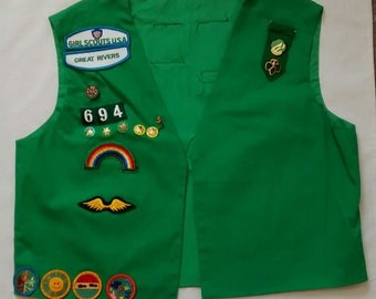 Vintage Girl Scouts Green Vest, Patches and Pins, 1990s