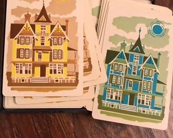 Vintage Playing Cards Set of 4 Single Swap Cards Houses Just Moved New Home