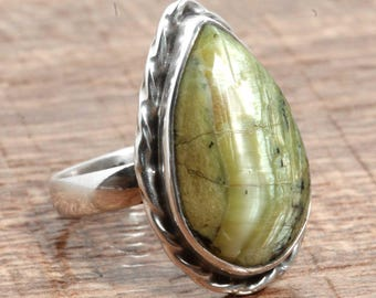 Natural Green Swiss Opal Gemstone Handcrafted 925 Sterling Silver Ring US Ring Size 5