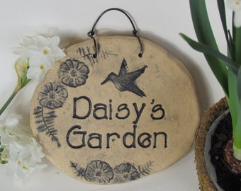 Rustic home decor, Custom name Outdoor decor. Handmade terra cotta plaque. Wall art, Ceramic wall tile, Hanging tile, stone garden decor