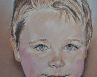 Family portraits from photos, with pastels.