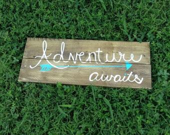 Adventure awaits sign | reclaimed wood sign | rustic farmhouse decor