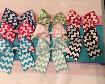 Chevron cheer style assorted colors hair bows