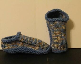 Handmade Knit Slippers, Blue Slippers