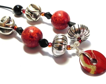 Red, Black and Silver Necklace - Red Magnesite beads - Silver lucite beads