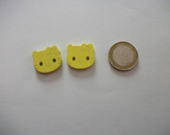 2 large buttons - 20 mm - cat decor - over sweater, baby, or other...  yellow 2-