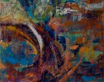 Original Acrylic Encaustic Resin Abstract Painting on Cradled Board | Resin Tree