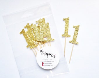 Gold Glitter Number Toppers, Set of 12, Number cupcake toppers, gold birthday decorations, birthday cupcake toppers , first birthday decor