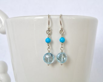 Sterling silver dangle earring with sky blue topaz coins and sleeping beauty turquoise