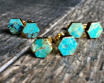 Turquoise Stud Earrings Gold,Turquoise Earrings Gold,Turquoise Studs Hexagon,Turquoise Studs,Turquoise Post Earrings,Turquoise Jewelry,Studs