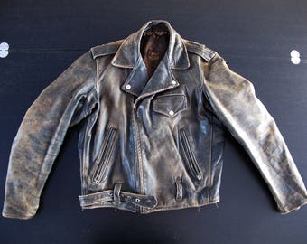 Vintage original American 1940s 1950s black motorcycle leather jacket vtg