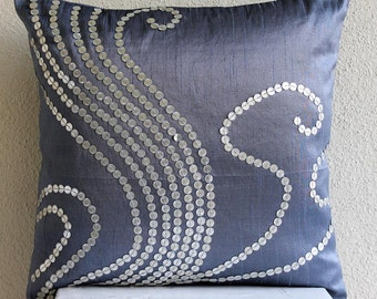 Decorative Throw Pillow Covers Accent Pillow Couch Pillow 20x20 Blue Sofa Pillows Silk Pillow Case Sequins Embroidered Home - Swirls