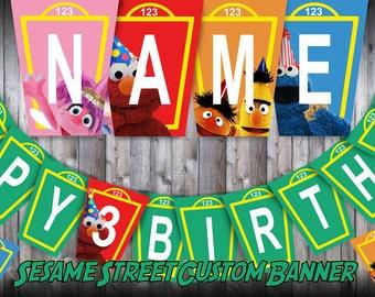 Personalized Sesame Street Birthday Banner, Elmo, Abby, Big Bird, Grouch, Burt Ernie, Abby, Cookie Monster, Bunting Banner, You Print