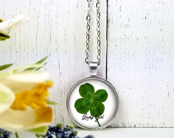 Lucky Girl 2- 4 leaf Clover-Medium Round Glass Bubble Pendant Necklace- Saint Patrick's Day Gift