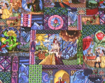 BEAUTY and the BEAST Stained Glass FABRIC / 1/2 Yard For Quilting / Belle - Ball Gown