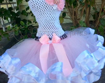 RTS, ribbon edge tutu, tutu set, cake smash, photo prop, handmade, girls tutu, toddler tutu, girls accessories, ribbon edge, birthday tutu
