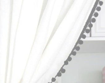 Classic White Curtain with Black Pom Pom or other colors