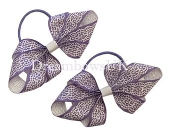 Lilac and white novelty hair bows, Thin hair bobbles, girls fashion hair bows, girls hair elastics, handmade bows UK, hair accessories