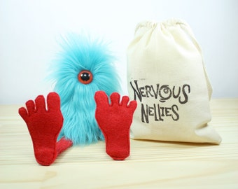 Nervous Nelly Plush Monster Toy- Aqua