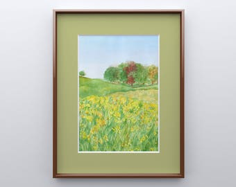 Yellow Field of Flowers Print from Original Watercolor