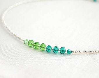 fathers Day Gift Tiny St Patricks Day Necklace Irish Good Luck Green Crystal Two Tone Color Block Necklace Sterling Silver Thin Minimal
