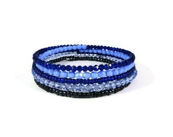 Blue Wrap Bracelet, Memory Wire Bracelet, Crystal Bead Bracelet, Beaded Bangle Bracelet with Moon Charm, Boho Bracelet, Beadwork Jewelry