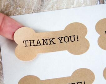 Dog Bone Stickers - Dog Bone Thank You Stickers - Dog Birthday - Pet Birthday - Pet Packaging - Pet Business - Pet Accessories - Dog Treats