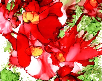 Alcohol Ink Art Scarlet Blooms on Watercolor Paper with Matt