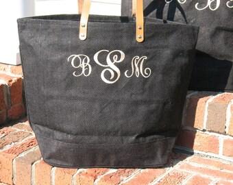 Personalized Jute Tote Bag-BLACK  Bridesmaids Gift