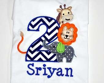 Personalized Safari Animal Birthday Outfit, 2nd Birthday Jungle Zoo Shirt, Elephant, Lion, Giraffe Theme Birthday Party Ideas for Boys