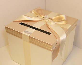 Wedding  Card Box Champage and Ivory Gift Card Box Money Box Holder-Customize your color