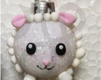 Balls to decorate Christmas tree with white sheep